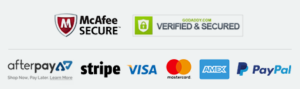 mcafee secure - godaddy verified - afterpay - stripe - visa - mastercard - amex